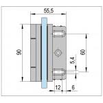 Петля Madrid стекло/стена 90° с выемкой под уплотнитель, открытие наружу