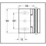 Петля Madrid стекло/стена 90° с открытием внутрь