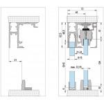Набор раздвижной двери с креплением к потолку  с неподвижной створкой Bohle MasterTrack FT 80