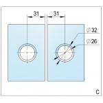 Петля Lugo стекло/стекло 180° с открытием наружу и креплением слева